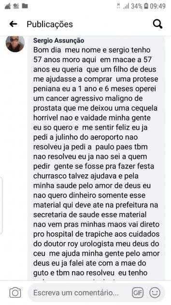 Homem pede prótese peniana no facebook