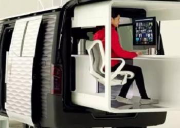 O office-pod, como está sendo chamado, é uma versão modificada do modelo NV350 Caravan Foto: Divulgação