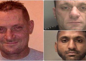 Vítima Stephen Bird e os agressores, Steven Bennett e Suni Singh Gill (Fotos: Divulgação)